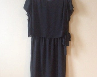 Vintage Little Black Dress by Lady Carol XL Summer Gown Plus Size Women LBD Sheer Frock