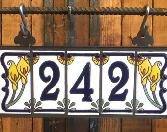 Custom Royal Blue on White Ceramic Tile House Numbers with Calla Lily End Caps