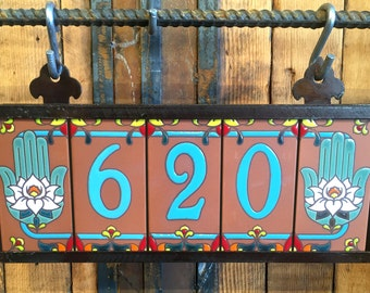 Custom Turquoise on Terra Cotta Tile House Numbers with Hamsa Hand End Caps