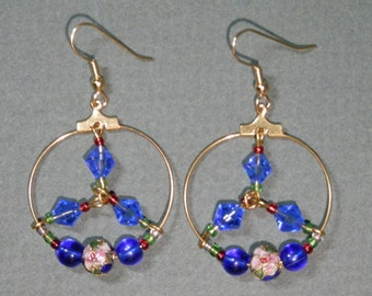 "2 1/ 2"" Long  Elegant Hoop Dangle Earrings Gold Tone Wire Cobalt Blue Faceted Swarovski Floral Cloisonne Beads Hand Design Fashionable Gift"