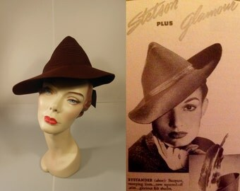 Its Love I'm After - Vintage 1930s Dobbs Chestnut Brown Felt HoneyComb & Peaked Tyrolean Fedora Hat