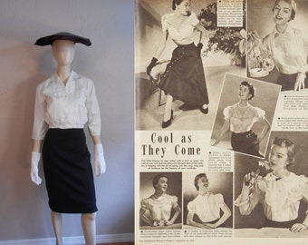 A Puurfectly Good Secretary - Vintage 1950s White Embroidered Crop Cotton Top Blouse - 2/4