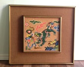 Vintage Chinoiserie Needlepoint Panel Hand Stitched Wall Decor Chinese Dragon