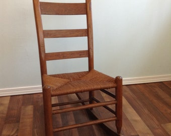 Early ameican rush seat small rocking chair oak wood, Ladder Thumb Back Chair, Ladder Back Rocking Chair with Rush Seat
