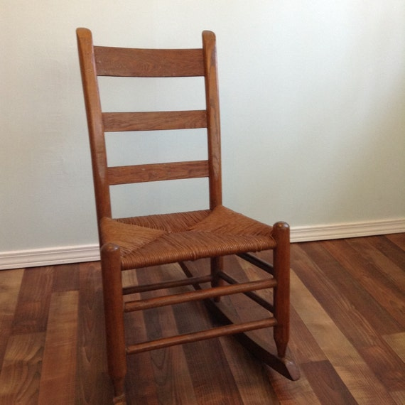 Early Ameican Rush Seat Small Rocking Chair Oak Wood Ladder