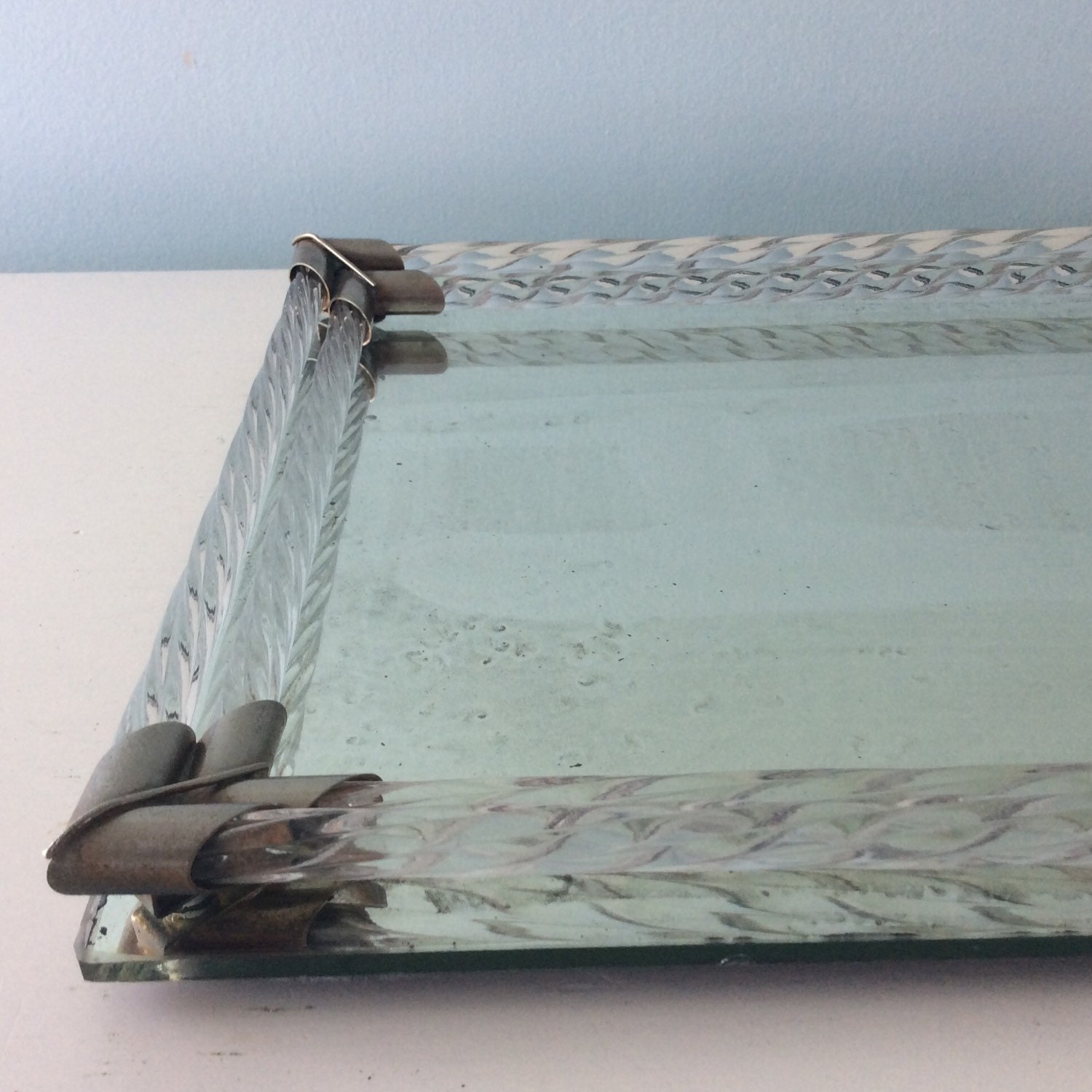 Antique vanity tray with lace insert - Vanity Vintage Tray Murano Glass