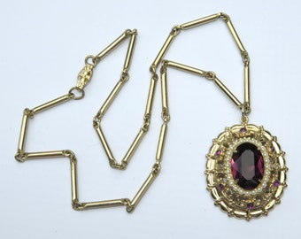 Vintage Coro Purple Rhinestone Pendant Necklace