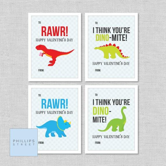 Printable DINOSAUR Valentine's Day Cards . Classroom