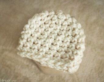 Newborn Hat, Baby Boy Crochet Hat, Cream Chunky Crochet Hat, Girl Hat, Wool Hat, Newborn Prop, Newborn Photo Prop, Baby Props, RTS, Winter