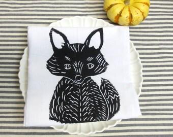 Flour Sack Tea Towel /  Dish Towel with Fox Hand Block Print