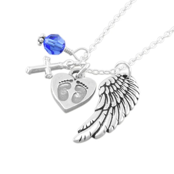 Remembrance Necklace. Memorial Jewelry. Personalized birthstone. sympathy. infant loss. grief gift Sterling silver, angel wing, cross, GLORY