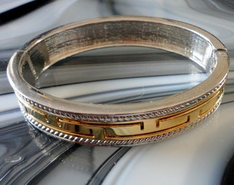 Vintage Classic Gold Tone and Silver Tone Hinged Clamper Bracelet