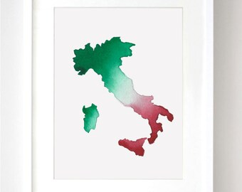 Italy Map Watercolor - Fine Art Print