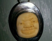 ON SALE! Antique Vintage Sterling Silver Oval Pendant w/ Hand Carved 17th Century Medieval Face
