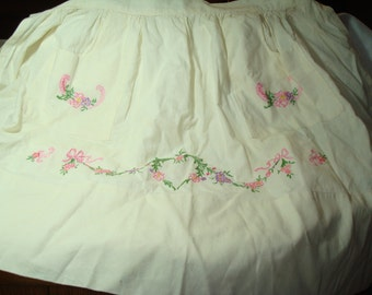 1950s Hand Embroidered Muslin Pink and Purple Flower Apron.