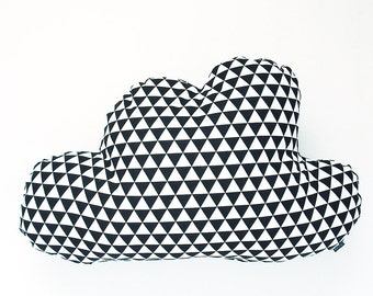 Cloud pillow in black and white triangle