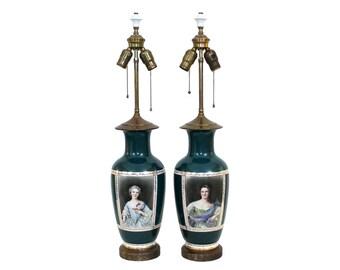 Pair 1930s Porcelain Portrait Lamps by Freidrich Simon Company