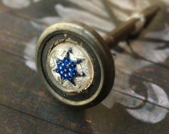 Victorian Picture Nail Hanger Antique Cobalt Sulphide Glass Hardware Paperweight Star
