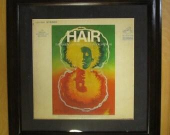 HAIR Original Broadway Musical Cast Framed 1968 Album and Album Cover 33 rpm LP