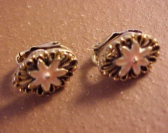 Pink Enameled Flower Clip-on Earrings