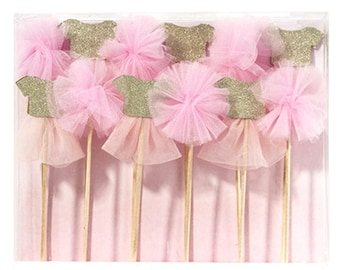 Pink Tulle and Gold Cake Toppers-set of 12