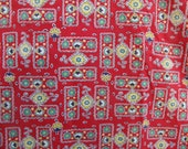 2 Pairs of Vintage Red Floral Print Cotton Curtains