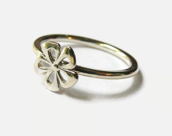 Flower Stacking ring Sterling silver flower ring, 925 Sterling silver ring silver stacking ring floral jewelry stackable ring