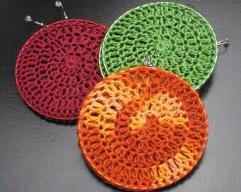 Burgundy, Orange or Green Crochet Hoop Earrings