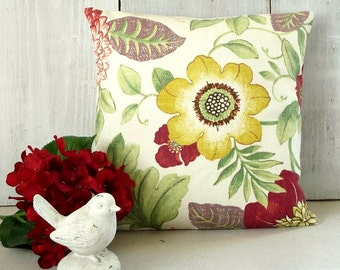 Large Floral Pillow Cover - Red - Yellow - Pink - Green - Purple - Cottage - Tropical