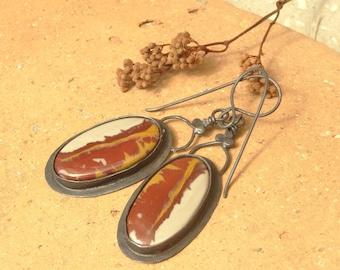 Rustic Noreena Fire Jasper Copper Earrings