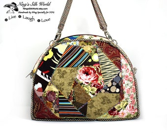 Sale 30% off! Padded Everyday All Purpose Purse Handbag in Crazy Quilt Design With Detachable Handles