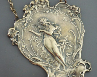 Art Nouveau Necklace - Statement Necklace - Vintage Necklace - Goddess Necklace - handmade jewelry
