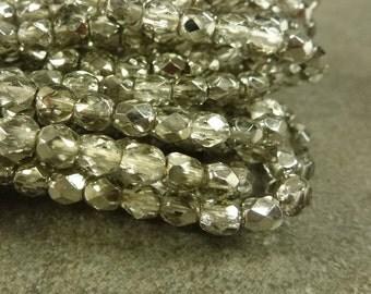 Black Diamond Mirror Czech Glass Firepolish Beads 4mm Faceted Glass 50pc Metallic