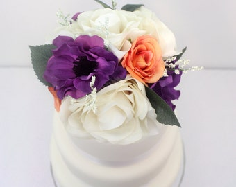 Silk floral wedding cake toppers wedding flowers by ittopsthecake wedding cake topper ivory orange rose purple anemone silk flower cake topper junglespirit Gallery