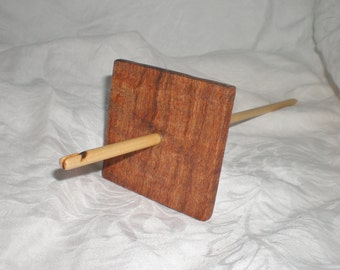 Split Notched Drop Spindle, Black Mesquite and Maple, High Whorl, 52 g