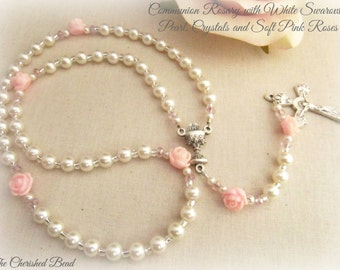 Beautiful First Communion Personalized Rosary with Swarovski White Pearls and Pink Roses