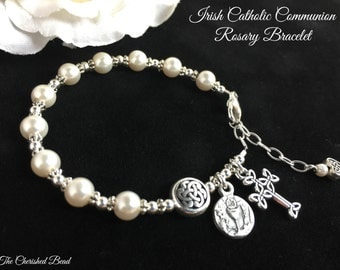 Irish Catholic Communion Rosary Bracelet with Swarovski Pearls and Sterling Silver