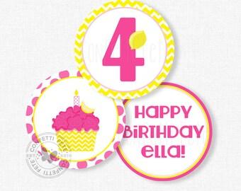 "Cupcake Party Centerpiece Circles, Pink Lemonade Birthday Decorations, Lemonade Cupcake Table Decor, Printable 4"" Party Circles"
