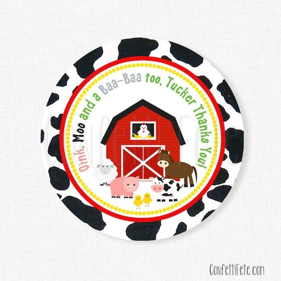 Farm Favor Tags, Barnyard Birthday, Farm Birthday Favors, Barn Animals Tag, Cow Print, Personalized