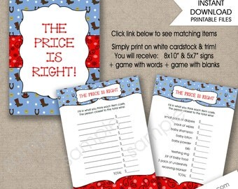 COWBOY Price is Right Baby Shower Game, instant download, boy baby shower games, printable baby shower games, western theme
