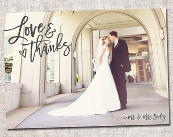 Wedding Thank You Card, Photo Thank You Card, Thank You Card, Printable Thank You Card, Modern Thank You card (Love and Thanks Cursive)