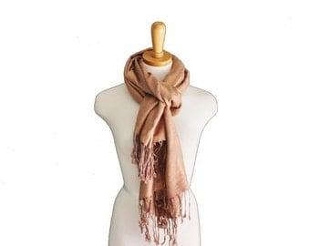 50% half off sale // Vintage 80s Tan Beige Scarf - Fringe Shawl - Subtle Floral Design