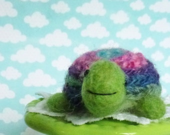 Turtle wool needle felted sculpture fun toy or wonderful cheer up gift