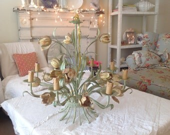 "VINTAGE TULIP TOLE CHANDELIEr / Toleware Chandelier / Tole Garden Chandelier 25"" x 25"" Italian Shabby Chic Cottage Style at Retro Daisy Girl"