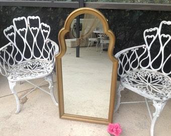Gold HOLLYWOOD REGENCY Style MIRROR / Vintage Hollywood Regency Gold Mirror / Palm Beach Style at Retro Daisy Girl