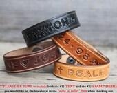 Custom Genuine Leather Bracelets Name, ID or Phrase Bracelets Personalized Handmade