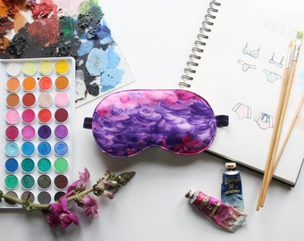 Reverie #1 Purple and Pink Brushstrokes Sleep Mask Handmade to Order