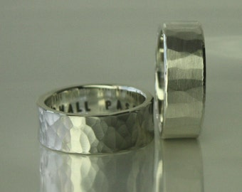 The WHATEVER 8mm ring 4 men. 2mm thick. VERY BOLD. Philosophy, history, art in one of a kind unique distress design. Custom message inside.