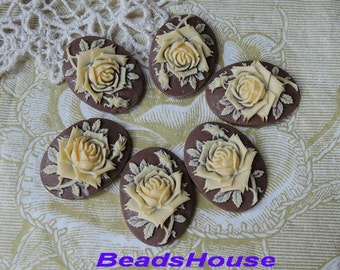 90-00-CS  6pcs ( 18 X 25MM  ) Pretty Rose Oval Cameo - Ivory on Brown