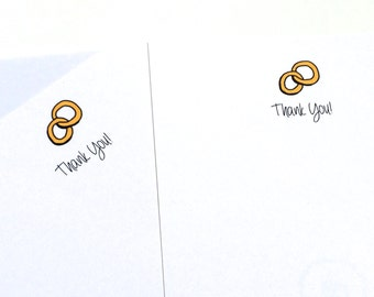 Set of Wedding Thank You Cards, Pack of Thank You Cards, Bridal Shower Thank you Cards, made on recycled paper, come with envelopes and seal